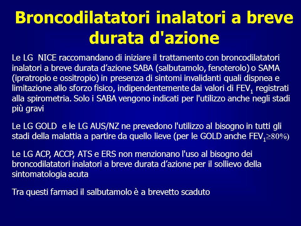 Terapia di mantenimento negli stadi moderati LGVALORI DI FEV 1 TERAPIA NICE FEV 1 50% Monoterapia con LABA o LAMA* ACP, ACCP, ATS e ERS 60%< FEV 1 < 8 0% Suggeriscono l uso di broncodilatatori inalatori GOLD 50% FEV 1 < 80% Trattamento con 1 o più broncodilatatori a lunga durata d azione AUS/NZ/ L uso di LABA o LAMA determina un miglioramento prolungato dei sintomi * Il LAMA è da preferire alla somministrazione regolare di un SAMA 4 volte al giorno