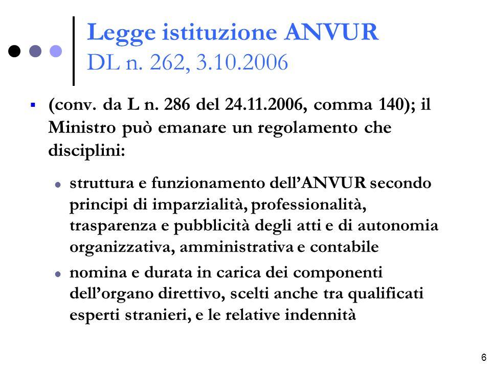 6 Legge istituzione ANVUR DL n. 262, 3.10.2006 (conv.