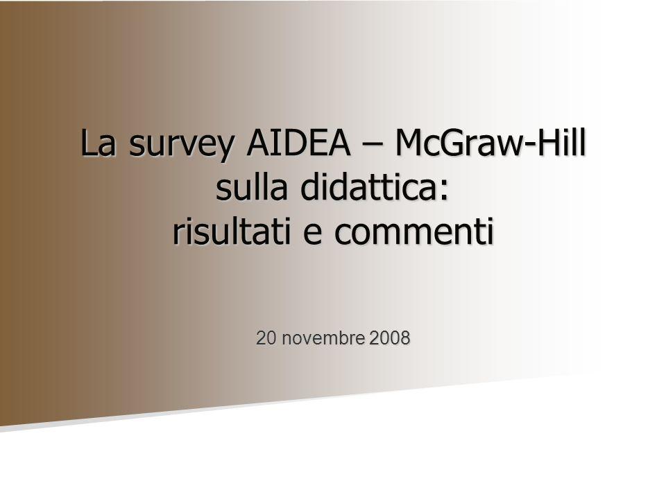 La survey AIDEA – McGraw-Hill sulla didattica: risultati e commenti 20 novembre 2008