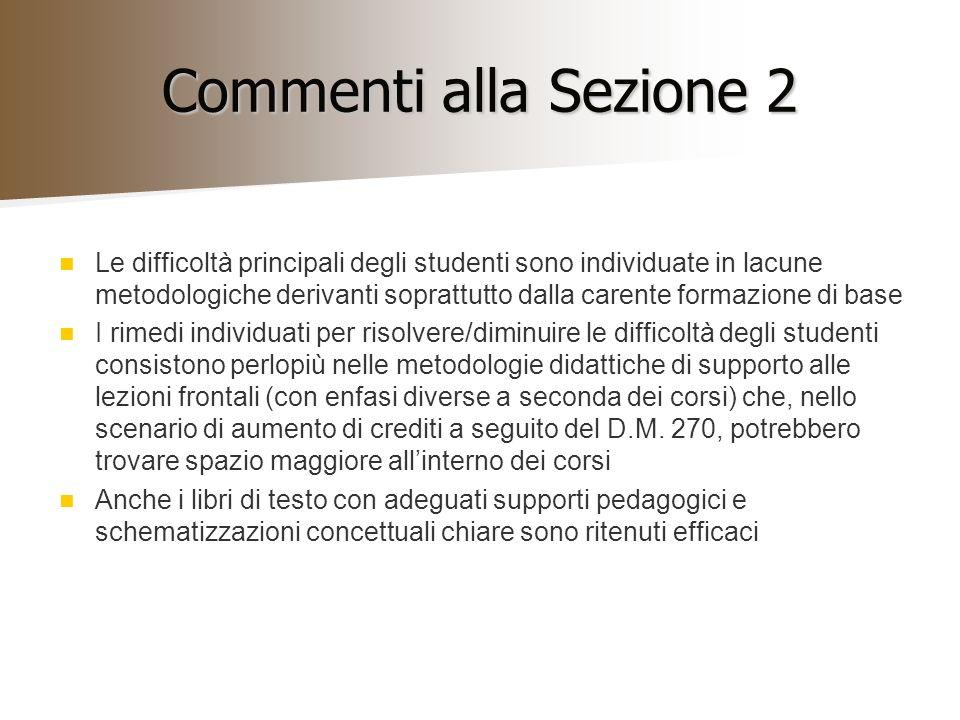Commenti alla Sezione 2 Le difficoltà principali degli studenti sono individuate in lacune metodologiche derivanti soprattutto dalla carente formazion
