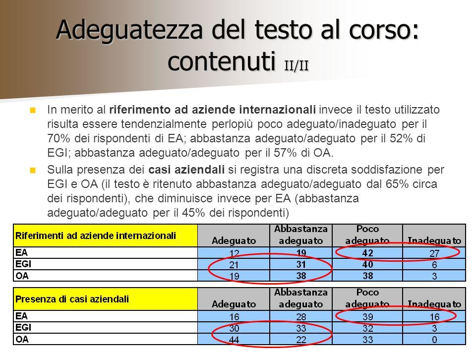 Adeguatezza del testo al corso: contenuti II/II In merito al riferimento ad aziende internazionali invece il testo utilizzato risulta essere tendenzia