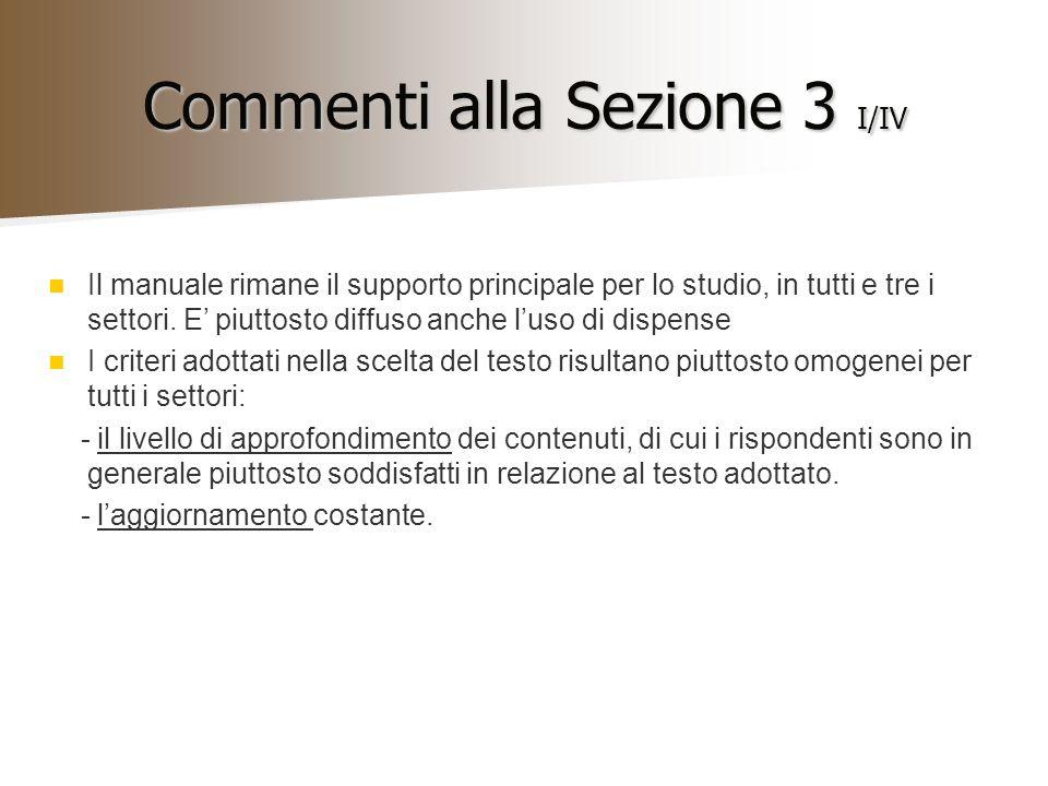 Commenti alla Sezione 3 I/IV Il manuale rimane il supporto principale per lo studio, in tutti e tre i settori. E piuttosto diffuso anche luso di dispe