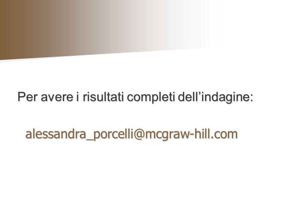 Per avere i risultati completi dellindagine: alessandra_porcelli@mcgraw-hill.com alessandra_porcelli@mcgraw-hill.com