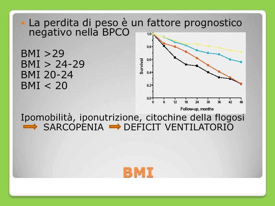BMI La perdita di peso è un fattore prognostico negativo nella BPCO BMI >29 BMI > 24-29 BMI 20-24 BMI < 20 Ipomobilità, iponutrizione, citochine della