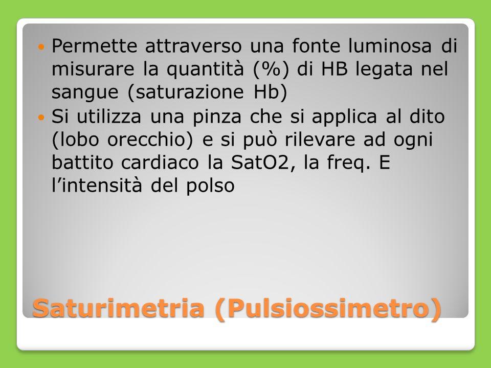 Saturimetria (Pulsiossimetro) Permette attraverso una fonte luminosa di misurare la quantità (%) di HB legata nel sangue (saturazione Hb) Si utilizza