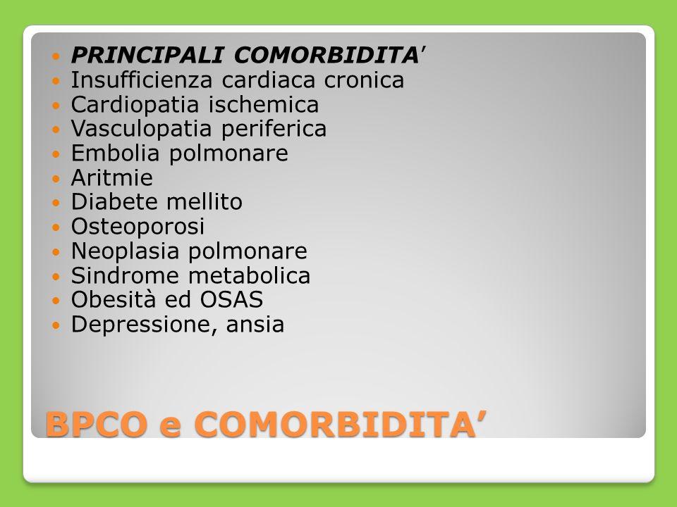BPCO e COMORBIDITA PRINCIPALI COMORBIDITA Insufficienza cardiaca cronica Cardiopatia ischemica Vasculopatia periferica Embolia polmonare Aritmie Diabe