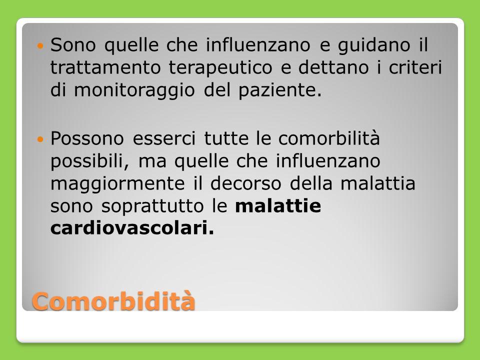 Comorbidità Sono quelle che influenzano e guidano il trattamento terapeutico e dettano i criteri di monitoraggio del paziente. Possono esserci tutte l