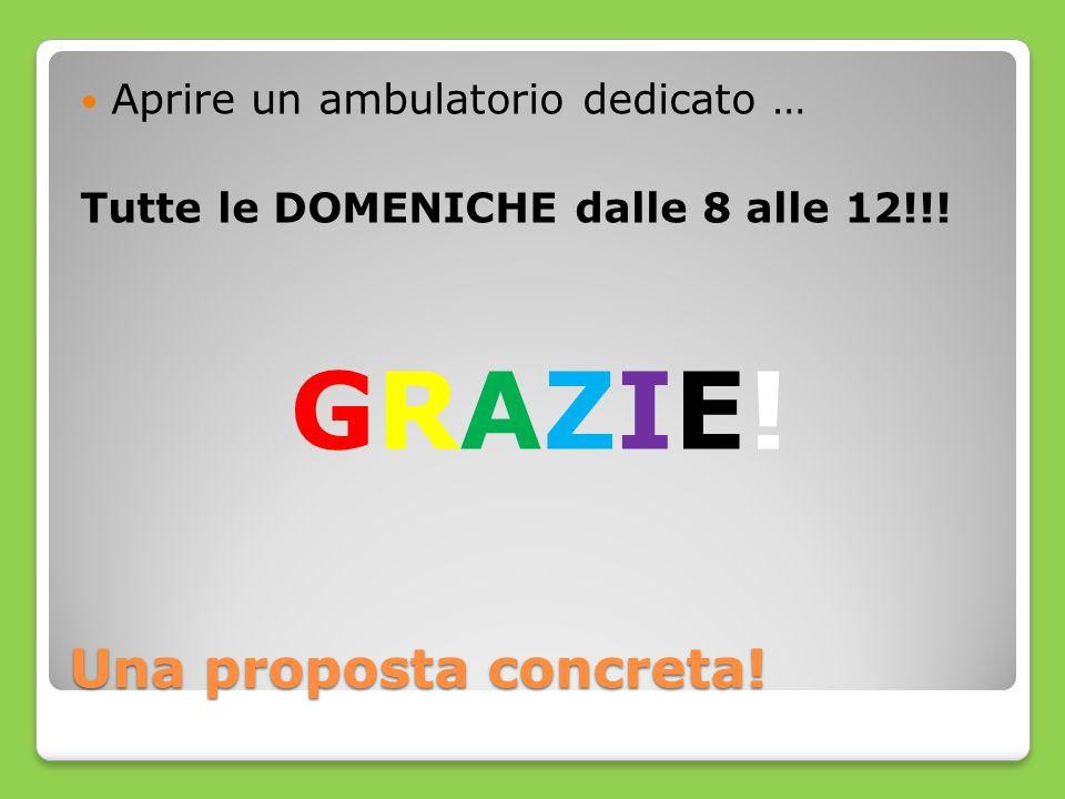 Una proposta concreta! Aprire un ambulatorio dedicato … Tutte le DOMENICHE dalle 8 alle 12!!! GRAZIE!GRAZIE!