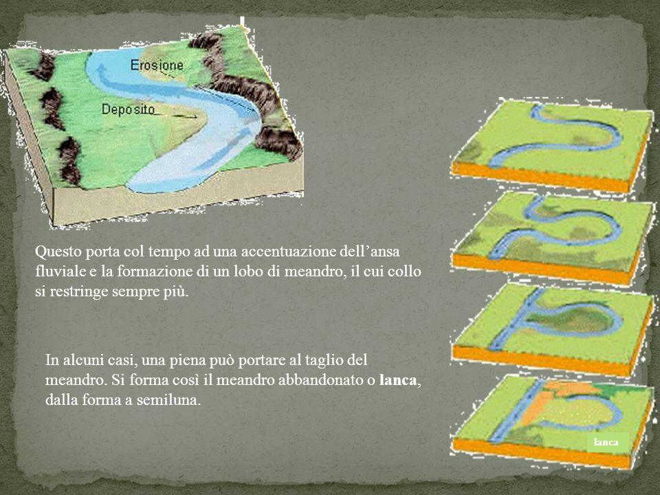 17 Questo porta col tempo ad una accentuazione dellansa fluviale e la formazione di un lobo di meandro, il cui collo si restringe sempre più. In alcun