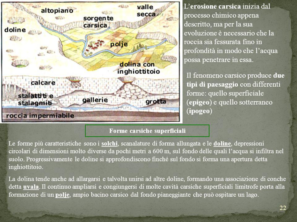 22 Lerosione carsica inizia dal processo chimico appena descritto, ma per la sua evoluzione è necessario che la roccia sia fessurata fino in profondit