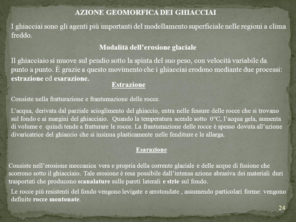 24 AZIONE GEOMORFICA DEI GHIACCIAI I ghiacciai sono gli agenti più importanti del modellamento superficiale nelle regioni a clima freddo. Modalità del