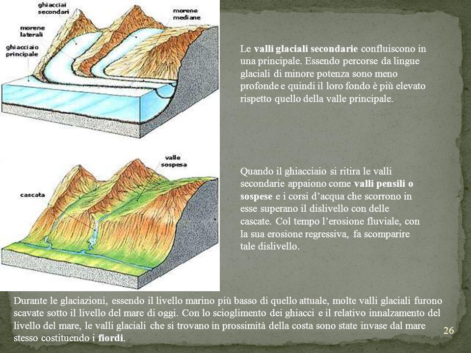 26 Le valli glaciali secondarie confluiscono in una principale. Essendo percorse da lingue glaciali di minore potenza sono meno profonde e quindi il l