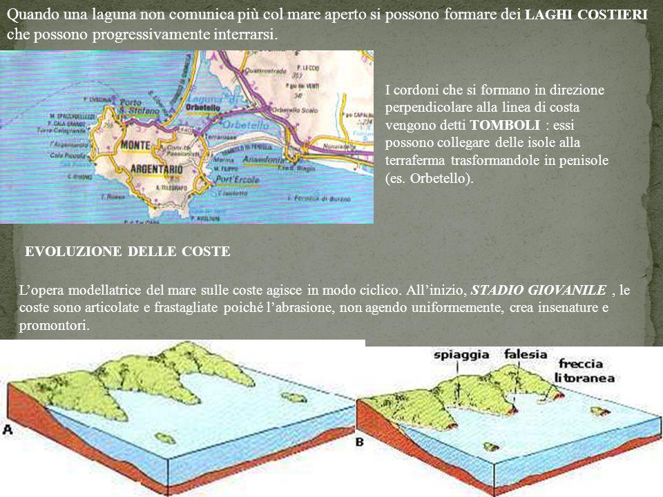 33 Quando una laguna non comunica più col mare aperto si possono formare dei LAGHI COSTIERI che possono progressivamente interrarsi. I cordoni che si