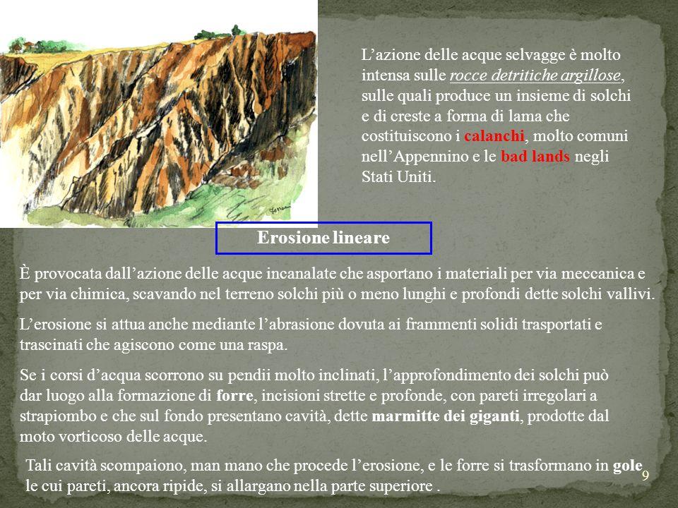 9 Lazione delle acque selvagge è molto intensa sulle rocce detritiche argillose, sulle quali produce un insieme di solchi e di creste a forma di lama