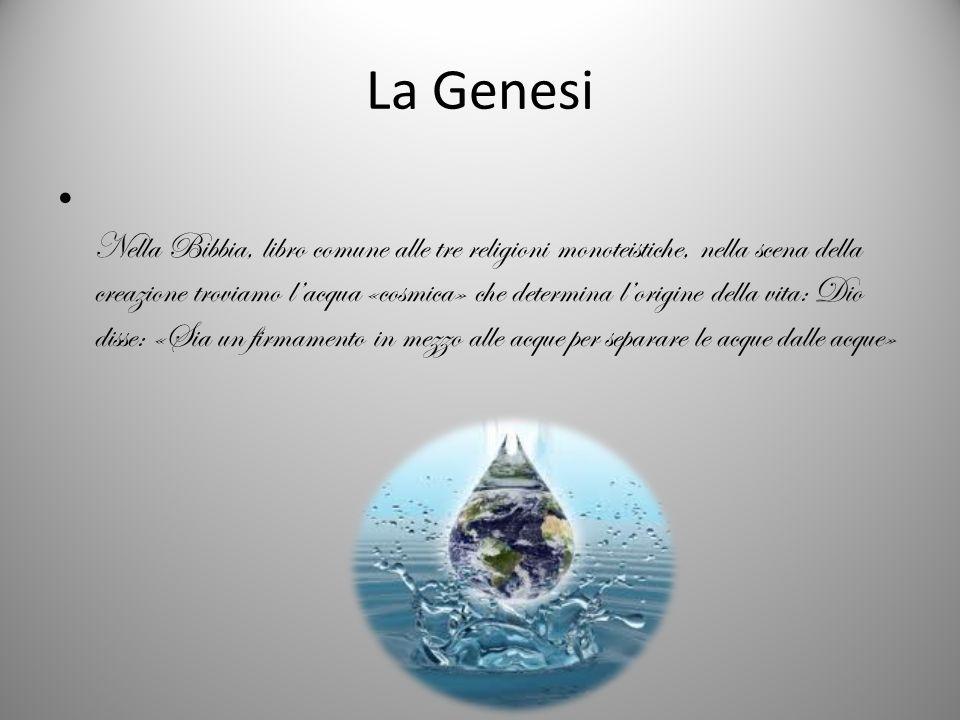 Nella Bibbia, libro comune alle tre religioni monoteistiche, nella scena della creazione troviamo lacqua «cosmica» che determina lorigine della vita: