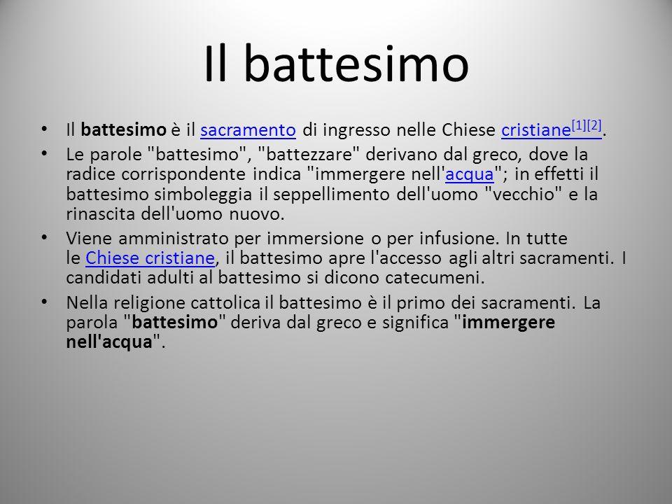 Il battesimo Il battesimo è il sacramento di ingresso nelle Chiese cristiane [1][2].sacramentocristiane [1][2] Le parole