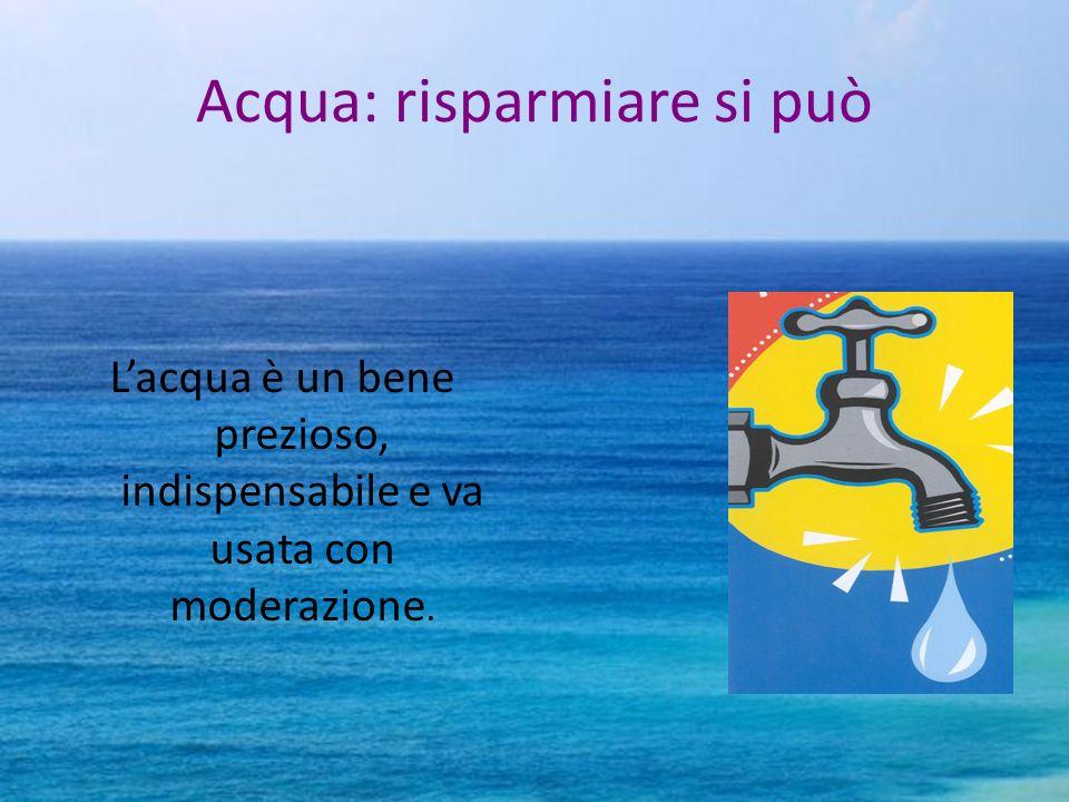 Acqua: risparmiare si può Lacqua è un bene prezioso, indispensabile e va usata con moderazione.