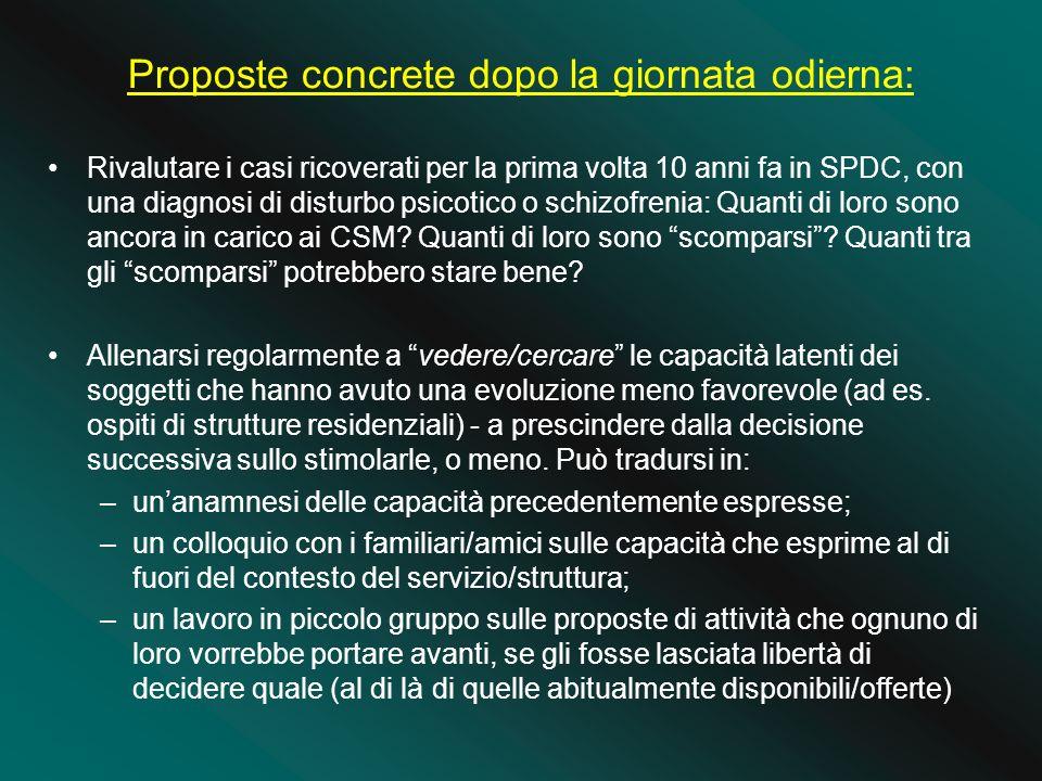 Proposte concrete dopo la giornata odierna: Rivalutare i casi ricoverati per la prima volta 10 anni fa in SPDC, con una diagnosi di disturbo psicotico