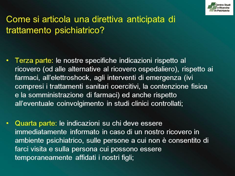 Come si articola una direttiva anticipata di trattamento psichiatrico.