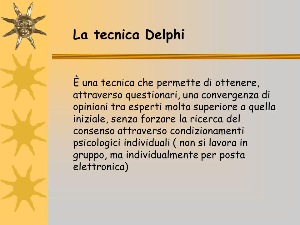 La tecnica Delphi È una tecnica che permette di ottenere, attraverso questionari, una convergenza di opinioni tra esperti molto superiore a quella iniziale, senza forzare la ricerca del consenso attraverso condizionamenti psicologici individuali ( non si lavora in gruppo, ma individualmente per posta elettronica)