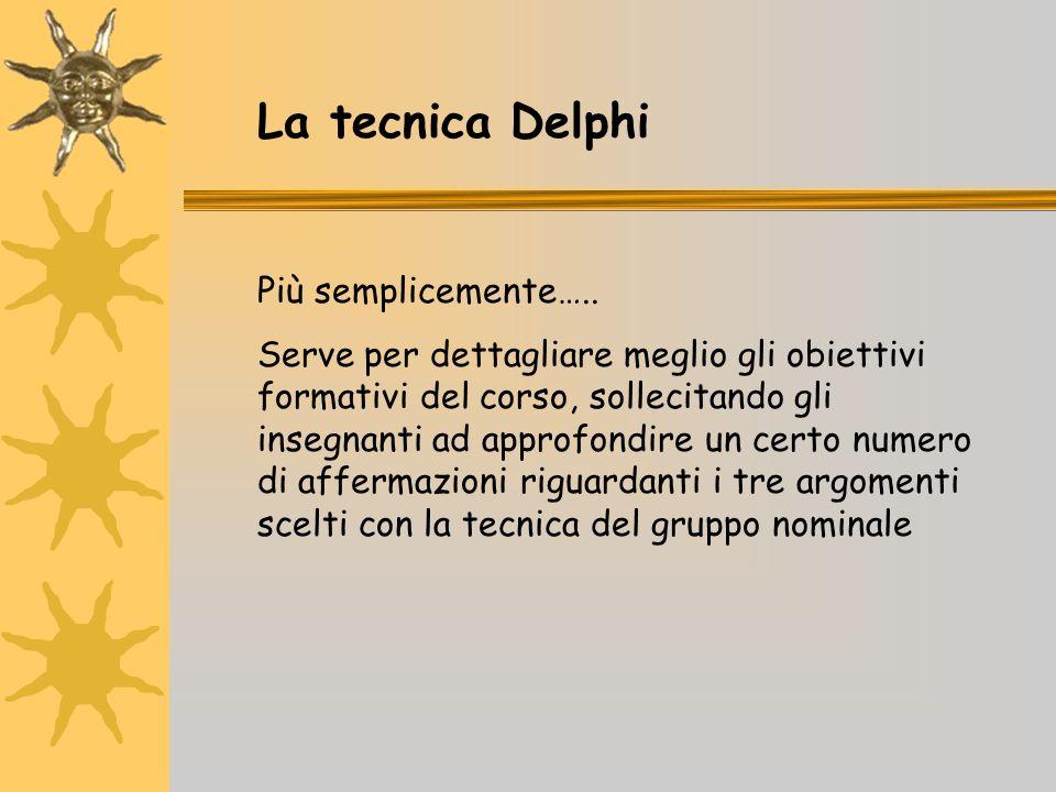 La tecnica Delphi Più semplicemente….. Serve per dettagliare meglio gli obiettivi formativi del corso, sollecitando gli insegnanti ad approfondire un