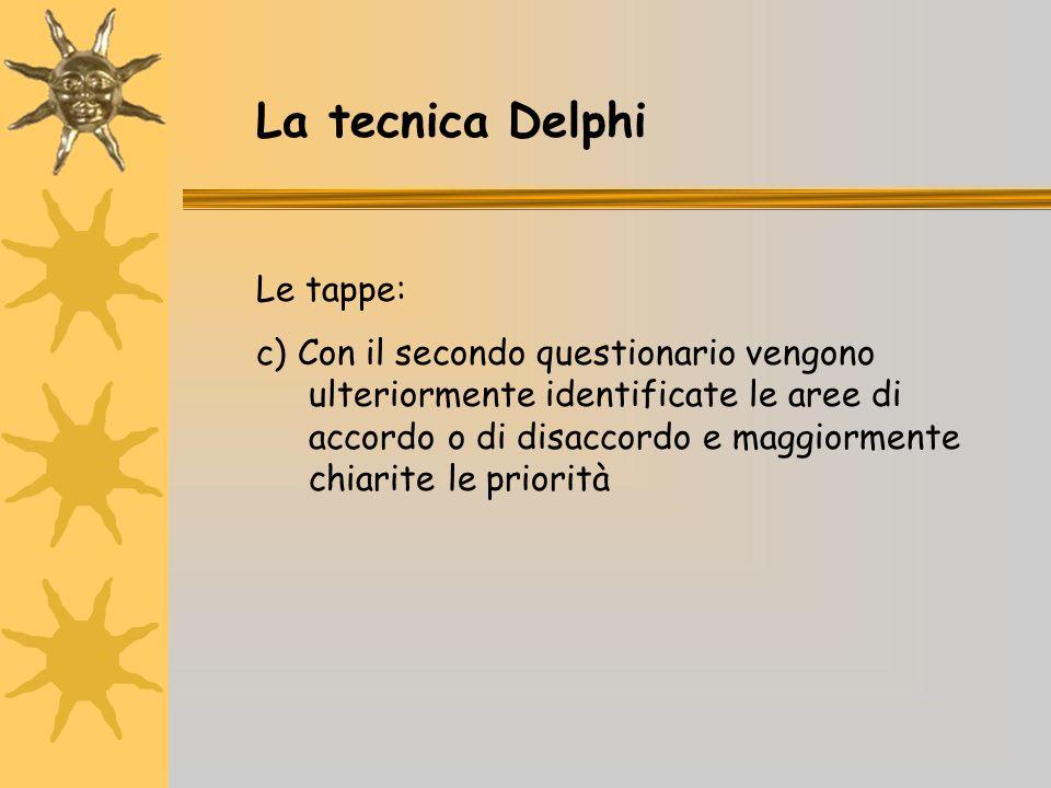 La tecnica Delphi Le tappe: c) Con il secondo questionario vengono ulteriormente identificate le aree di accordo o di disaccordo e maggiormente chiarite le priorità