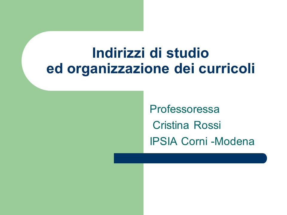 Indirizzi di studio ed organizzazione dei curricoli Professoressa Cristina Rossi IPSIA Corni -Modena