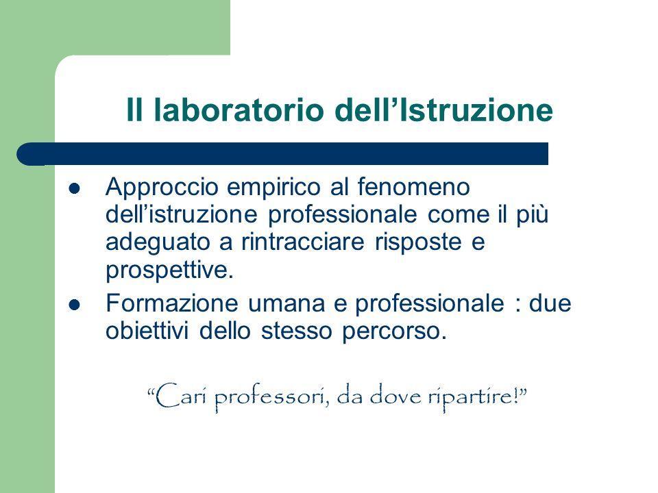 Il laboratorio dellIstruzione Approccio empirico al fenomeno dellistruzione professionale come il più adeguato a rintracciare risposte e prospettive.