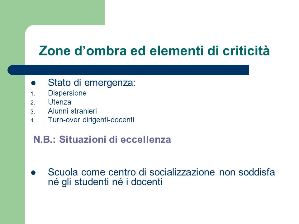 Zone dombra ed elementi di criticità Stato di emergenza: 1. Dispersione 2. Utenza 3. Alunni stranieri 4. Turn-over dirigenti-docenti N.B.: Situazioni