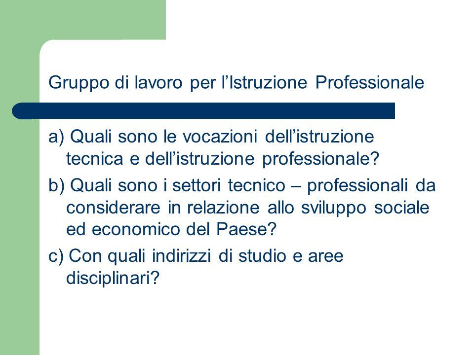 Gruppo di lavoro per lIstruzione Professionale a) Quali sono le vocazioni dellistruzione tecnica e dellistruzione professionale? b) Quali sono i setto