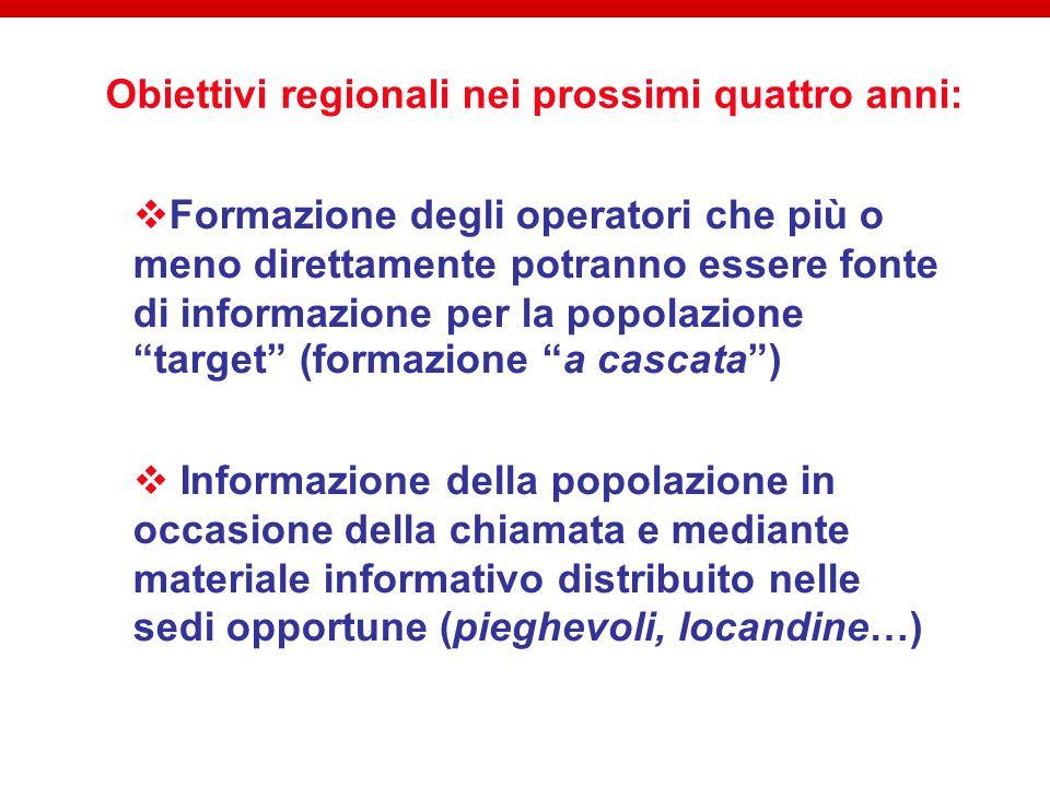 Obiettivi regionali nei prossimi quattro anni: Formazione degli operatori che più o meno direttamente potranno essere fonte di informazione per la pop