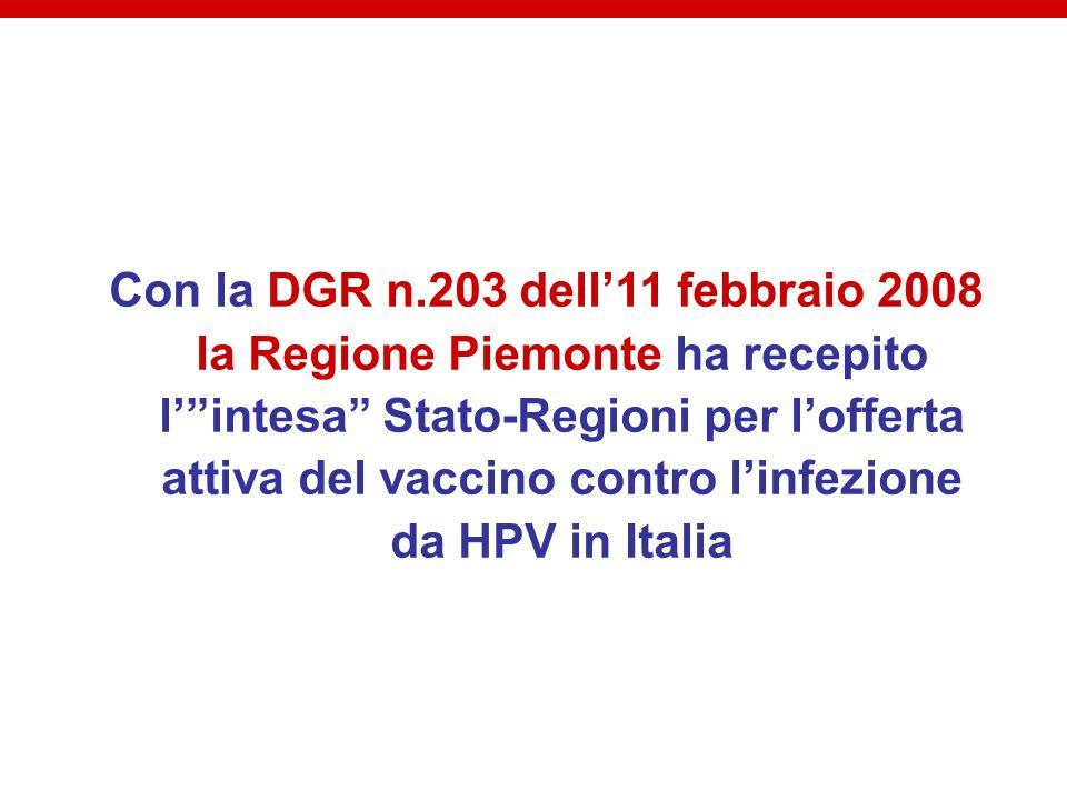 Con la DGR n.203 dell11 febbraio 2008 la Regione Piemonte ha recepito lintesa Stato-Regioni per lofferta attiva del vaccino contro linfezione da HPV i