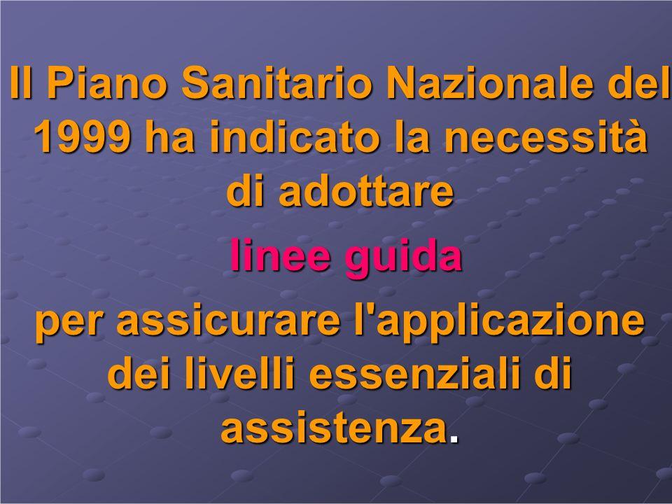 Il Piano Sanitario Nazionale del 1999 ha indicato la necessità di adottare linee guida linee guida per assicurare l'applicazione dei livelli essenzial