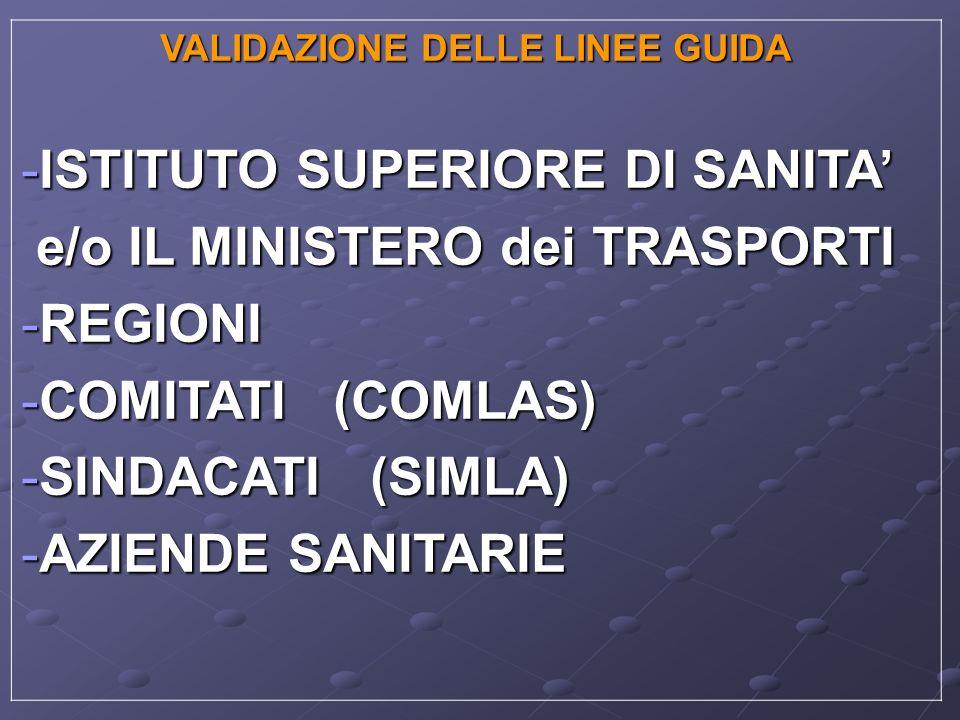 VALIDAZIONE DELLE LINEE GUIDA -ISTITUTO SUPERIORE DI SANITA e/o IL MINISTERO dei TRASPORTI e/o IL MINISTERO dei TRASPORTI -REGIONI -COMITATI (COMLAS)