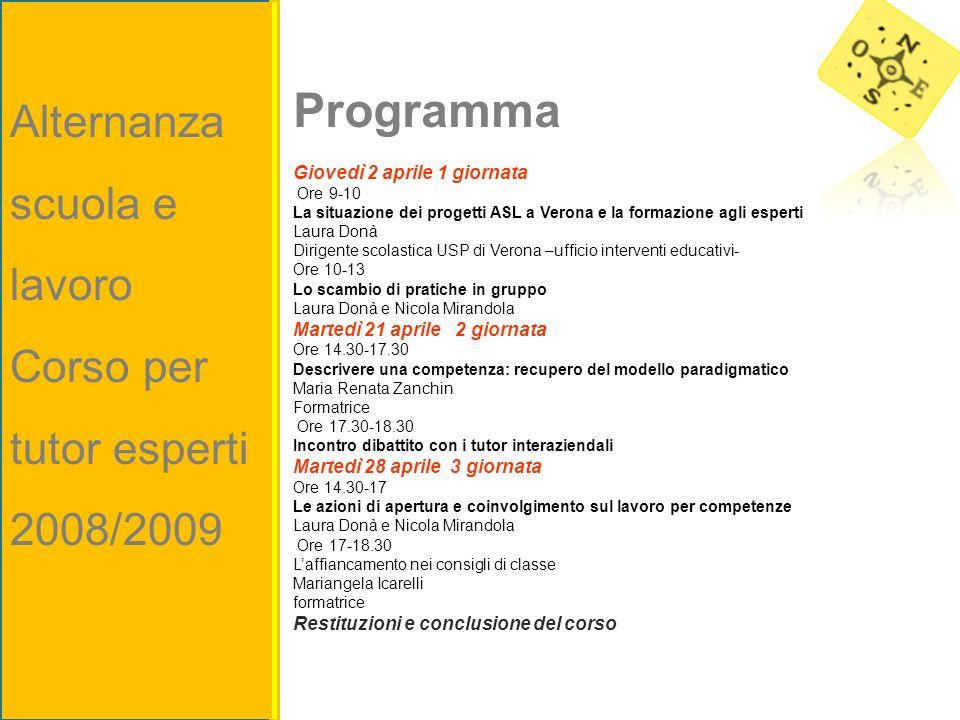 Programma Giovedì 2 aprile 1 giornata Ore 9-10 La situazione dei progetti ASL a Verona e la formazione agli esperti Laura Donà Dirigente scolastica US