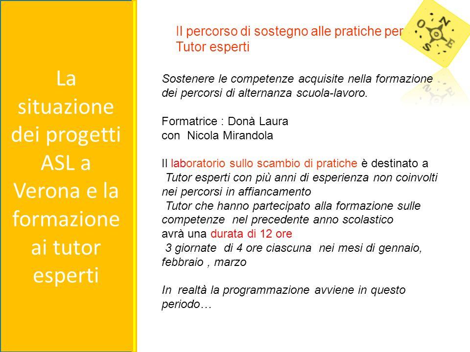 La situazione dei progetti ASL a Verona e la formazione ai tutor esperti Sostenere le competenze acquisite nella formazione dei percorsi di alternanza scuola-lavoro.