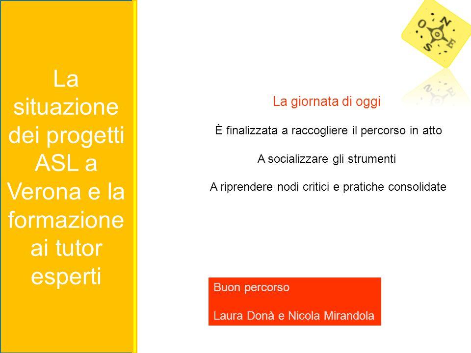 La situazione dei progetti ASL a Verona e la formazione ai tutor esperti La giornata di oggi È finalizzata a raccogliere il percorso in atto A sociali