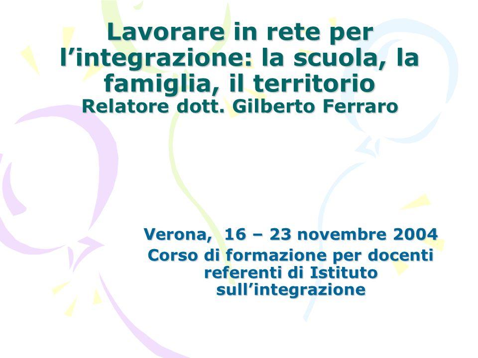 Lavorare in rete per lintegrazione: la scuola, la famiglia, il territorio Relatore dott. Gilberto Ferraro Verona, 16 – 23 novembre 2004 Corso di forma