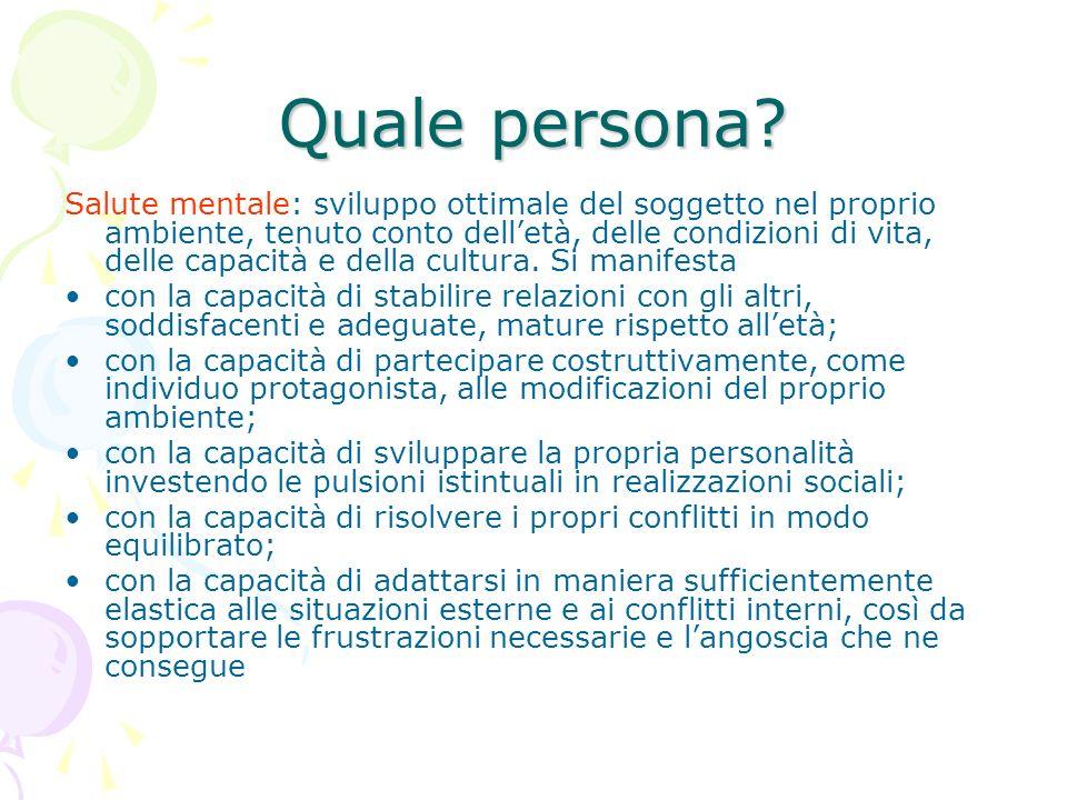 Quale persona? Salute mentale: sviluppo ottimale del soggetto nel proprio ambiente, tenuto conto delletà, delle condizioni di vita, delle capacità e d