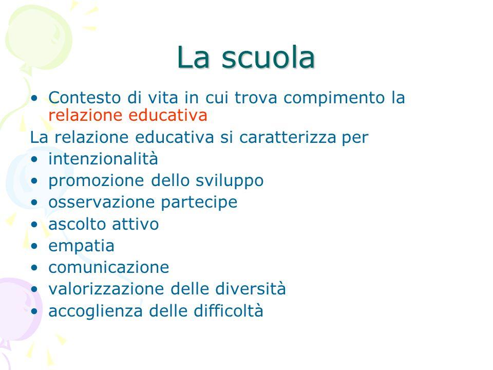 La scuola Contesto di vita in cui trova compimento la relazione educativa La relazione educativa si caratterizza per intenzionalità promozione dello s