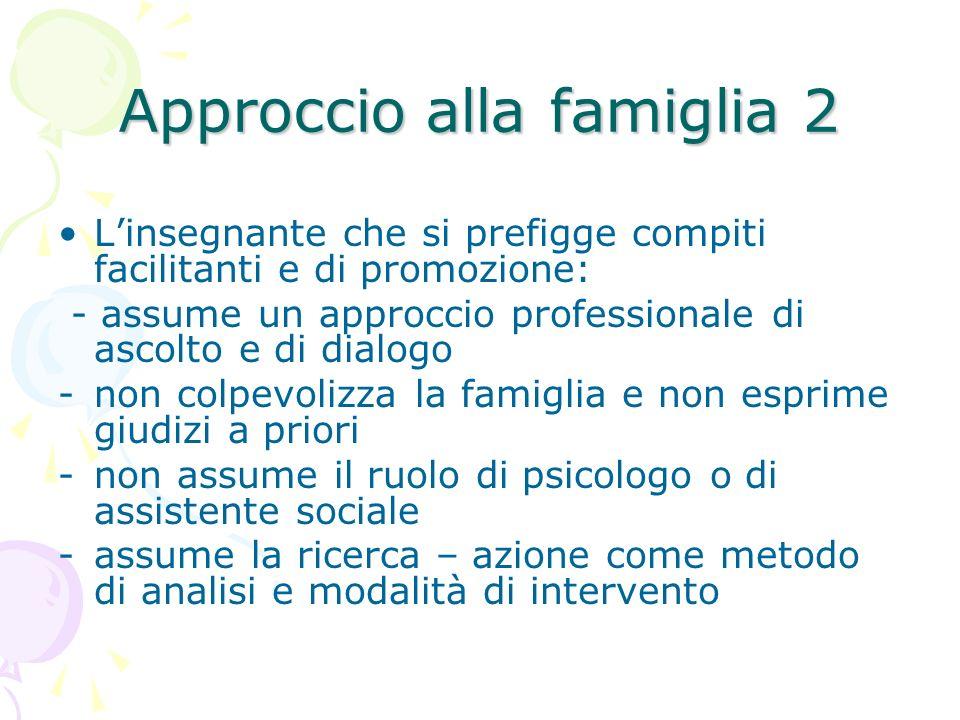 Approccio alla famiglia 2 Linsegnante che si prefigge compiti facilitanti e di promozione: - assume un approccio professionale di ascolto e di dialogo