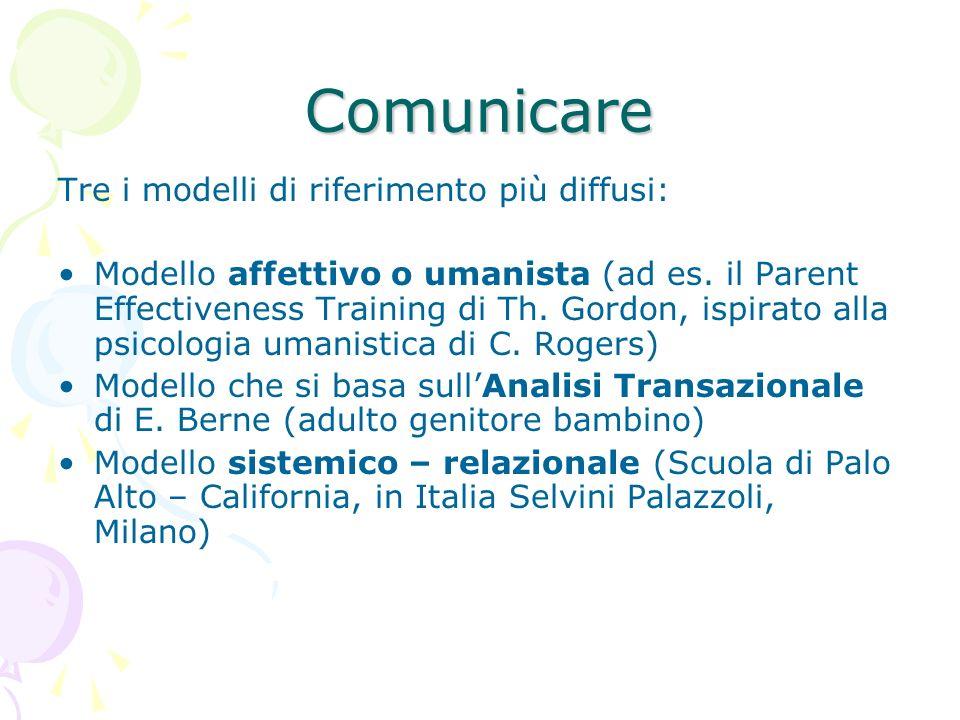 Comunicare Tre i modelli di riferimento più diffusi: Modello affettivo o umanista (ad es. il Parent Effectiveness Training di Th. Gordon, ispirato all