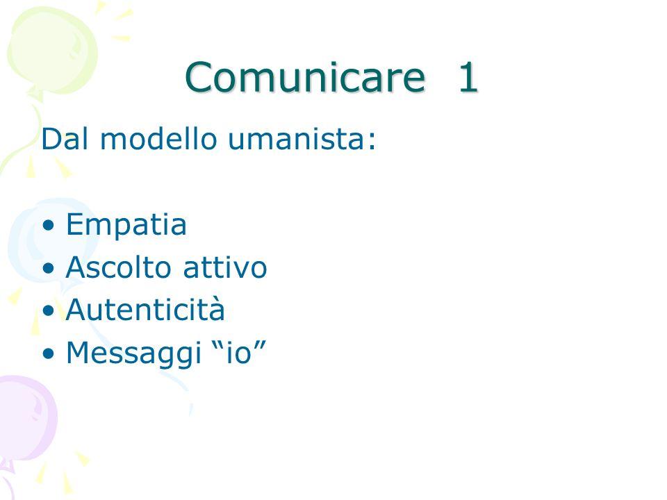 Comunicare 1 Dal modello umanista: Empatia Ascolto attivo Autenticità Messaggi io