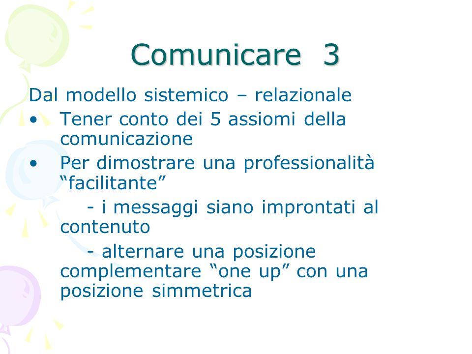 Comunicare 3 Dal modello sistemico – relazionale Tener conto dei 5 assiomi della comunicazione Per dimostrare una professionalità facilitante - i mess