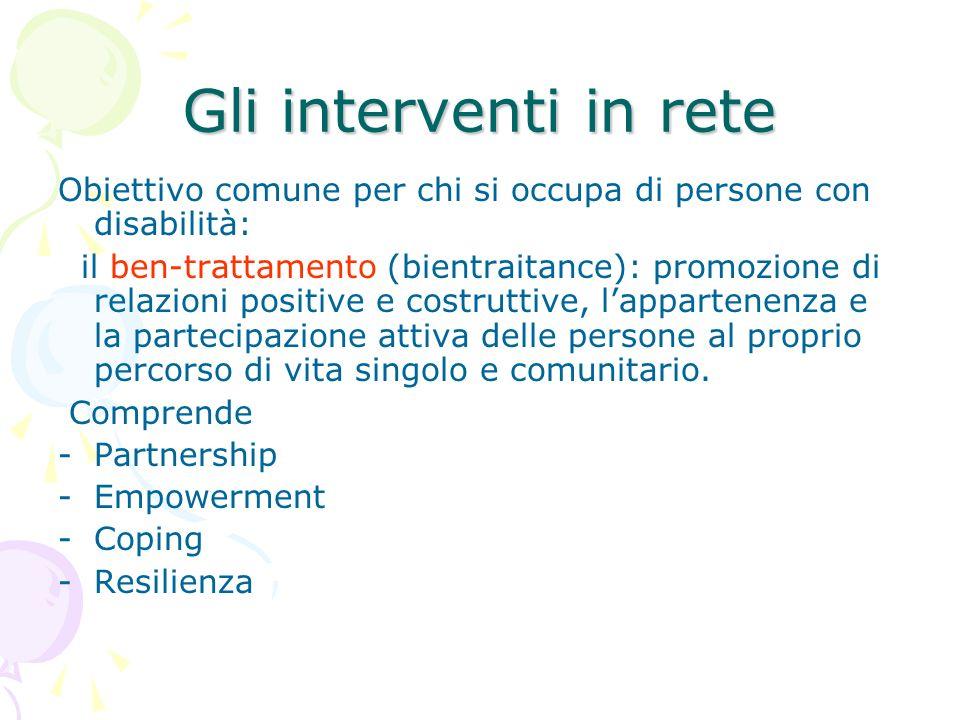 Gli interventi in rete Obiettivo comune per chi si occupa di persone con disabilità: il ben-trattamento (bientraitance): promozione di relazioni posit
