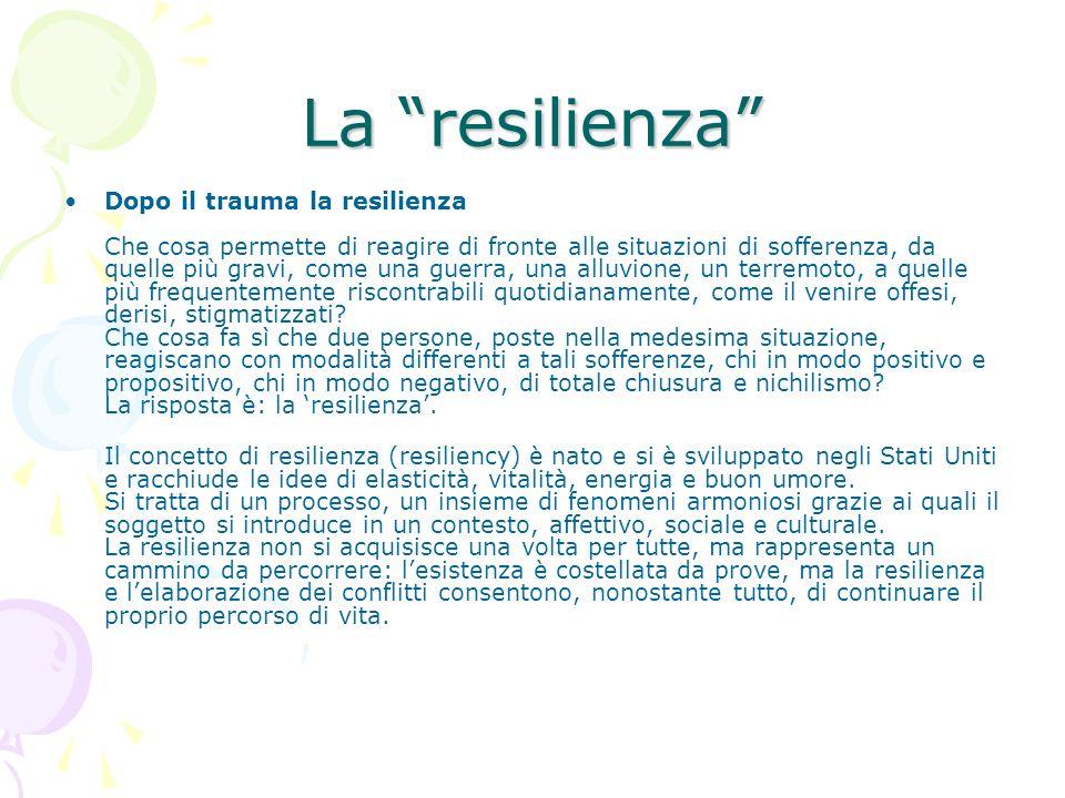 La resilienza Dopo il trauma la resilienza Che cosa permette di reagire di fronte alle situazioni di sofferenza, da quelle più gravi, come una guerra,