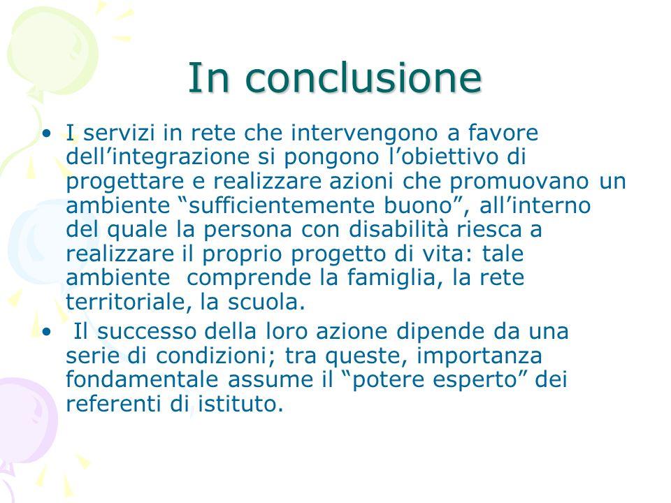 In conclusione I servizi in rete che intervengono a favore dellintegrazione si pongono lobiettivo di progettare e realizzare azioni che promuovano un