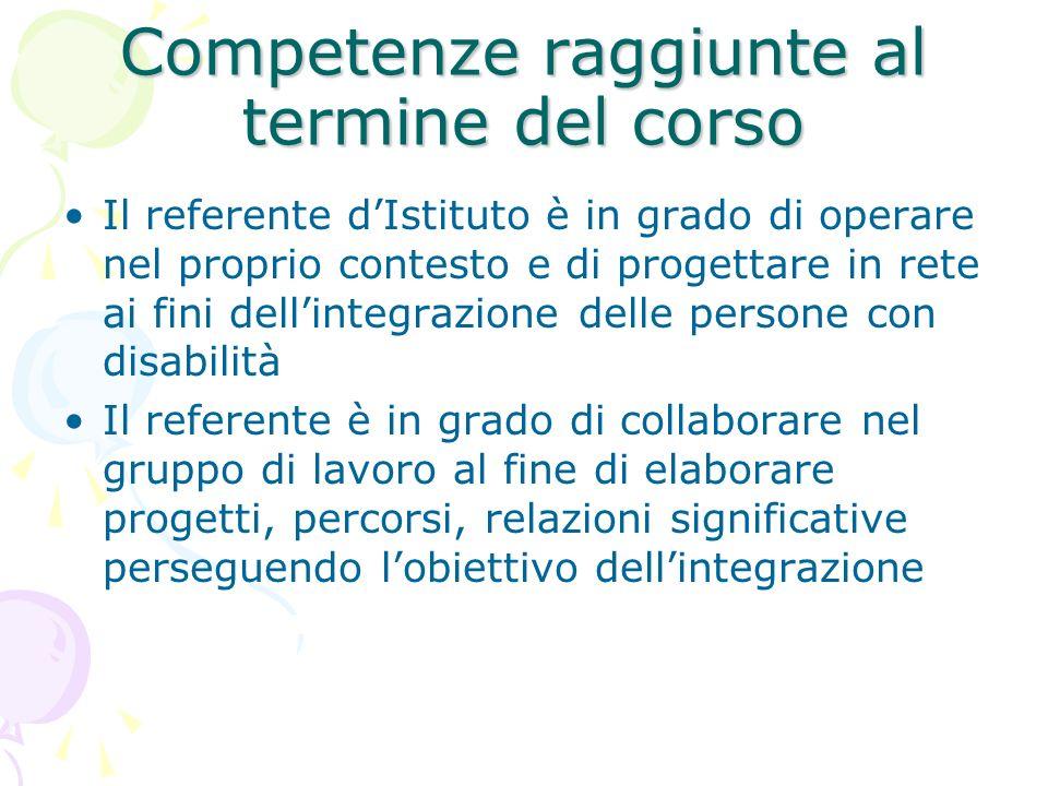 Competenze raggiunte al termine del corso Il referente dIstituto è in grado di operare nel proprio contesto e di progettare in rete ai fini dellintegr