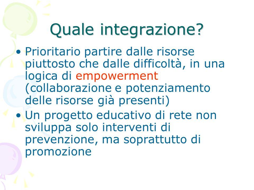 Quale integrazione? Prioritario partire dalle risorse piuttosto che dalle difficoltà, in una logica di empowerment (collaborazione e potenziamento del