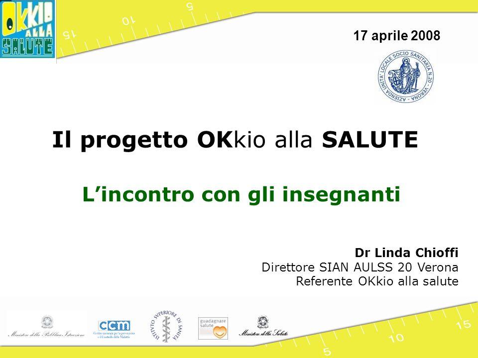 Il progetto OKkio alla SALUTE Lincontro con gli insegnanti Dr Linda Chioffi Direttore SIAN AULSS 20 Verona Referente OKkio alla salute 17 aprile 2008